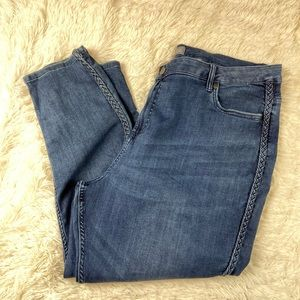 Falls Creek Dark Wash Skinny Jeans Braid Detail